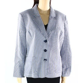 Nine West NEW Blue Women's 16 Gingham Notch Collar 3-Button Blazer