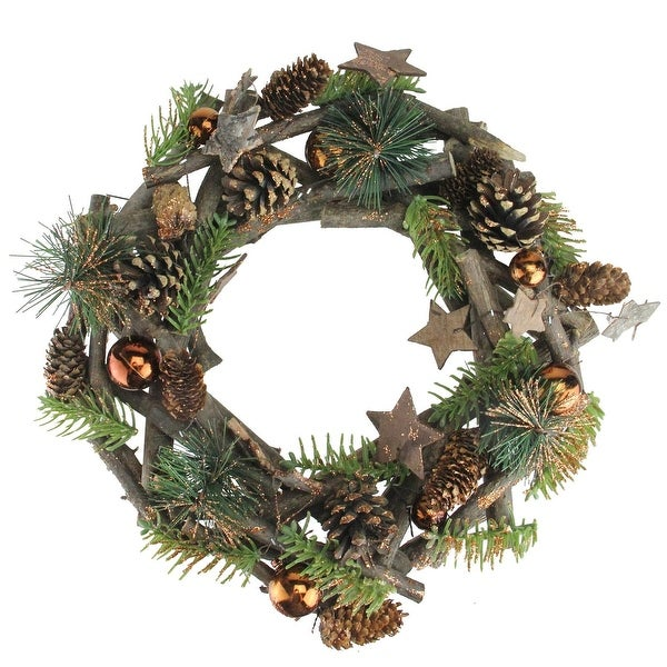 """12"""" Wooden Stars and Bronze Ornaments Foliage Twig Christmas Wreath - Unlit"""