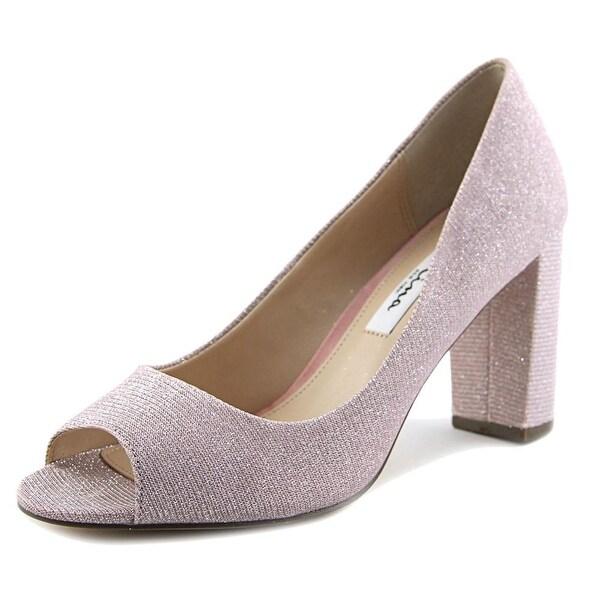 Nina Farlyn Women Peep-Toe Canvas Pink Heels
