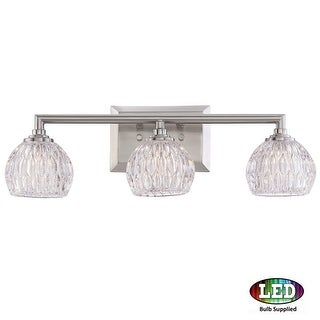 "Platinum PCSA8603LED Serena 3 Light 20"" Wide Bathroom Vanity Light with Glass Bell Shades"