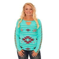 Cowgirl Tuff Western Shirt Womens Long Sleeve Thermal Tee Turq