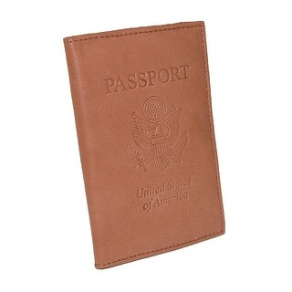 CTM® Leather Travel Passport Cover Wallet (Option: TAN)
