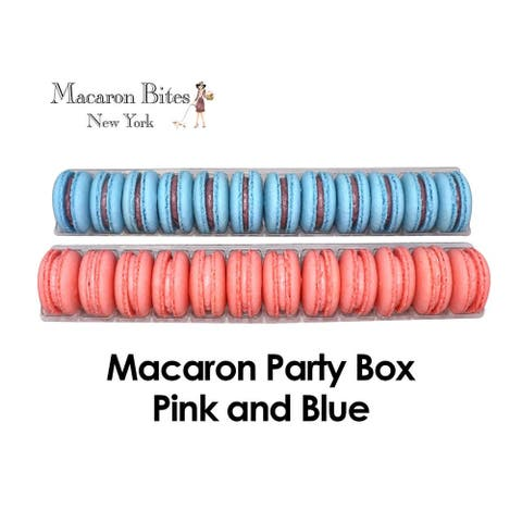 Macaron Bites Blueberry and Strawberry French Macarons, 24 Count - Pink and Blue