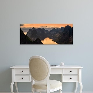 Easy Art Prints Panoramic Image 'Kjerkfjorden among mountain ridges at sunset, Lofoten, Nordland, Norway' Canvas Art