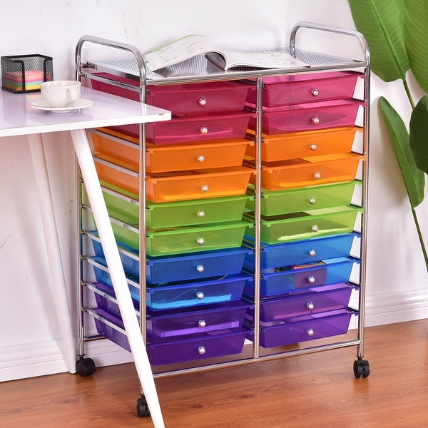 Costway 20 Drawer Rolling Storage Cart Scrapbook Paper Office School  Organizer   Mutli Color