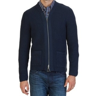 Nautica NEW Blue Men Size Small S Ribbed Patch-Pocket Full Zip Sweater
