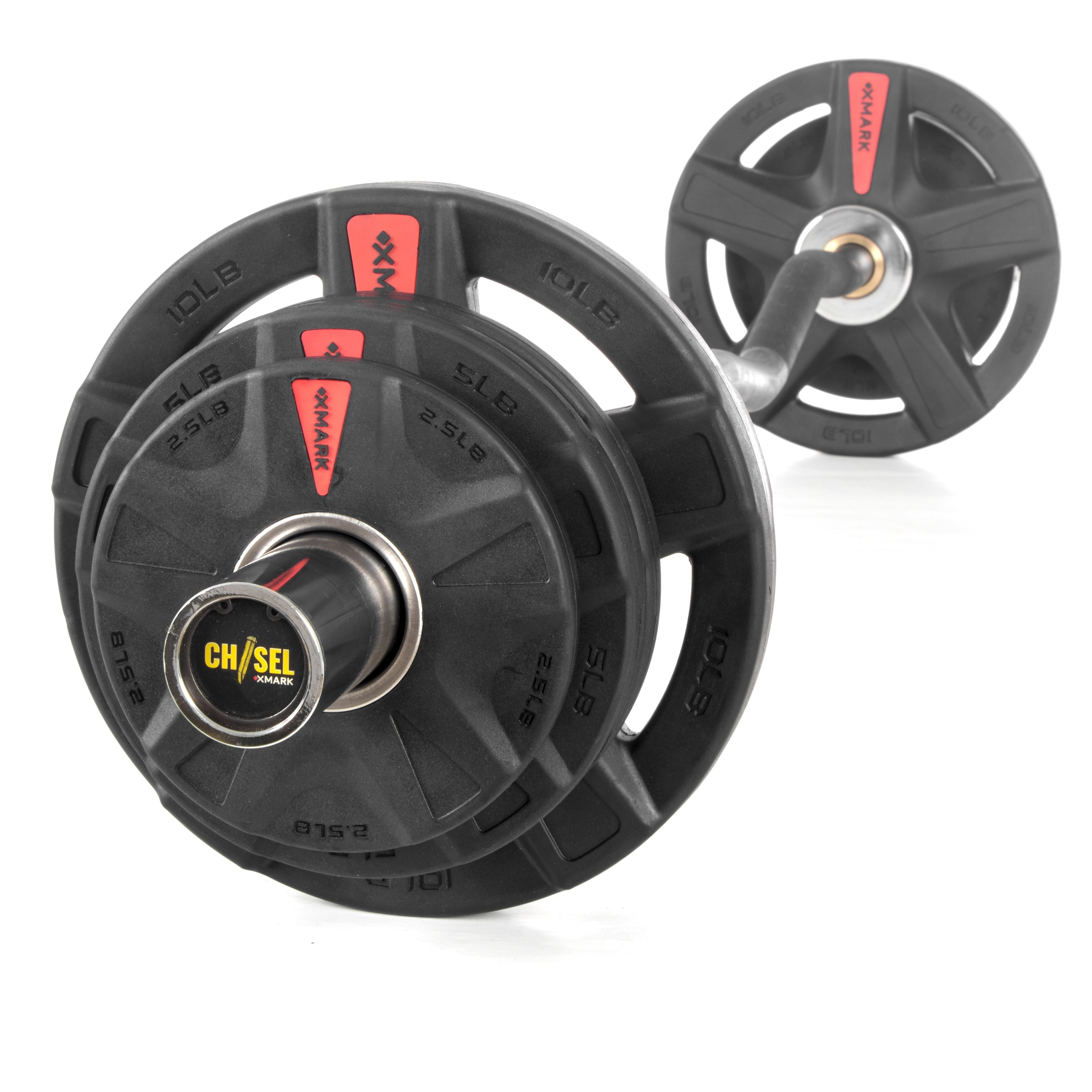 XMark XM-3377-BAL-115 Rubber Coated Tri-grip Olympic Plate Weights 115 lb Set