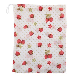 Travel Stawberry Pattern Drawstring Clothes Shoes Storage Bag Holder Container