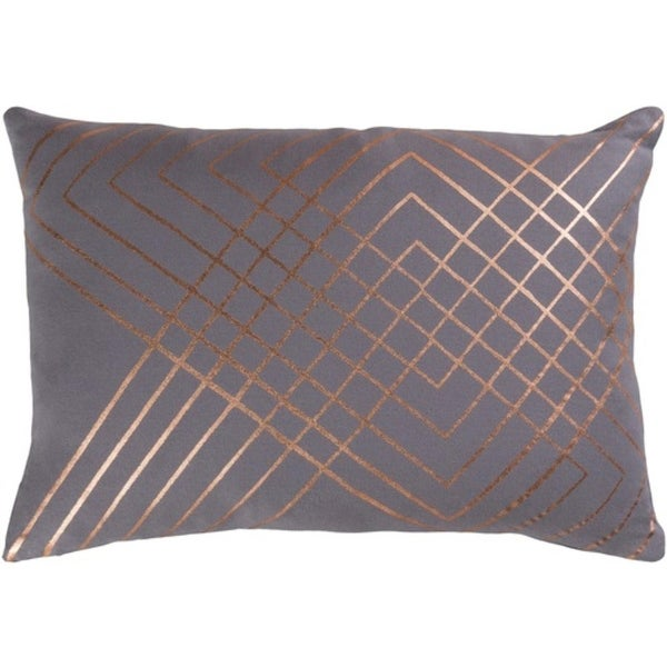 """19"""" Moon Gray and Copper Decorative Throw Pillow-Poly Filler"""
