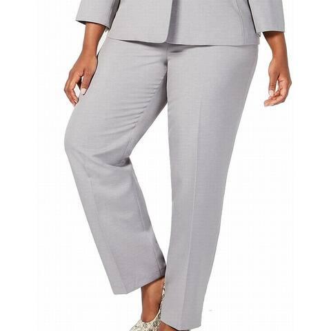 Le Suit Women's Pants Gray Size 20W Plus Suit Separate Elastic-Waist