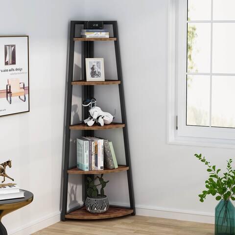 "70"" H Corner Bookshelf, 5 Tier Bookcase, Corner Ladder Display Shelf, Plant Stands"