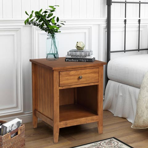 1-Drawer Nightstand Solid Wood, Traditional Design