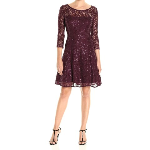 SLNY Fig Red Womens Size 6 Sequin Lace Illusion A-Line Dress
