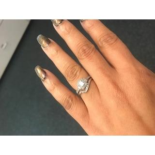 Miadora 10k White Gold 1/3ct TDW Baguette Diamond Halo Engagement Ring