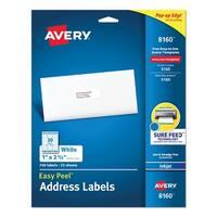 "AveryAVE-8160 Easy Peel Address Labels 1"" x 2""- 5/8"" Inkjet Printer w/ 25 White Sheets 750 Labels"