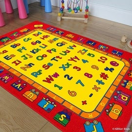 """Allstar Kids / Baby Room Area Rug. Learn ABC / Alphabet with Bright Colors with Capital and Lowercase Letters (7' 3"""" x 10' 2"""")"""