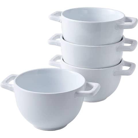 Set of 4 Large Soup Crocks with Handles for Cereal Bowl, Chilli, Oven safe Ceramic Serving Soup Bowl Set for kitchen. 24 Oz