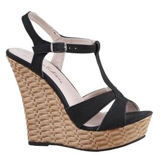 Blossom Women Nemo-16 Wedge T-Strap Sandals