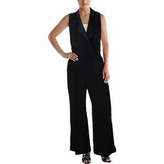 Lauren Ralph Lauren Womens Checklie Jumpsuit Satin Trim Tuxedo