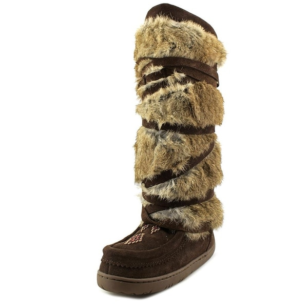 Pika Tall Strappy Women Round Toe Synthetic Brown Winter Boot