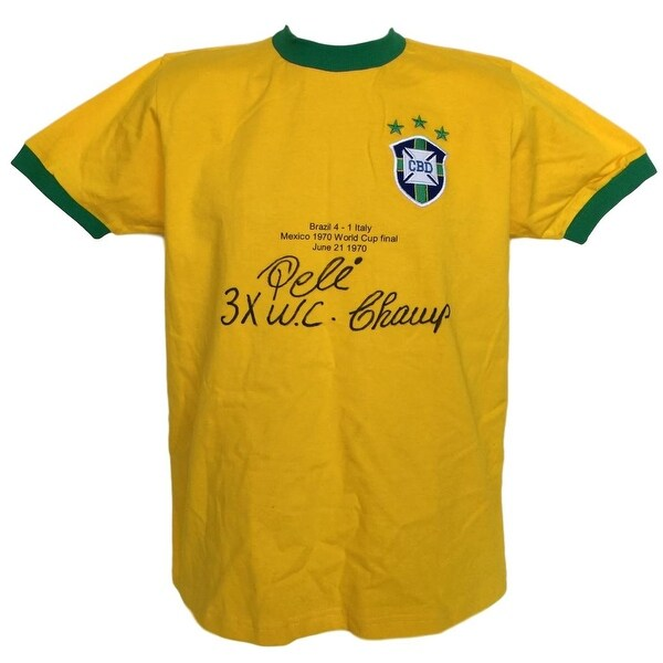 4cfed200f Pele Signed Brazil National Team Stat Jersey 3x WC Champ Inscribed PSA+SI
