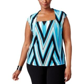 Kasper Womens Plus Blouse Jersey Striped