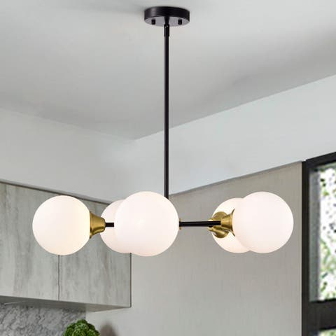 Agnese 5-Light White Glass Shades Sputnik Chandelier in Black and Gold