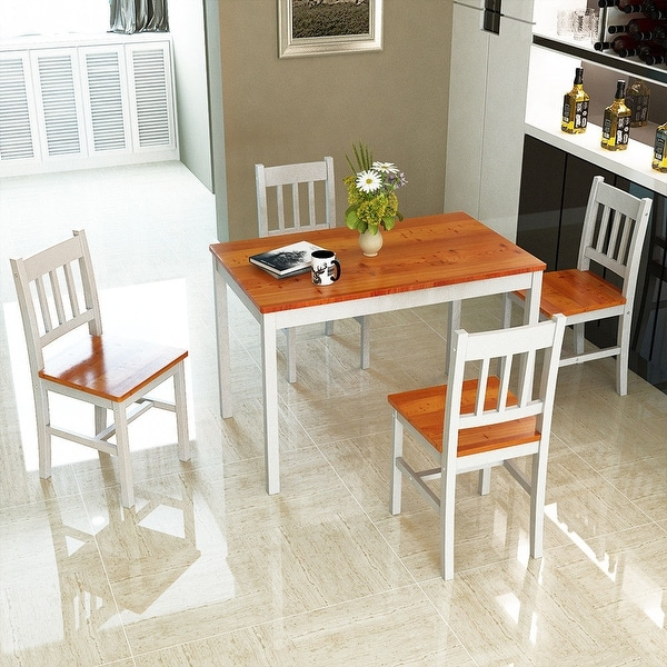 5 Pcs Pine Wood Dining Table And Chairs Dining Table Set: Shop Costway 5PCS Pine Wood Dinette Dining Set Table And 4