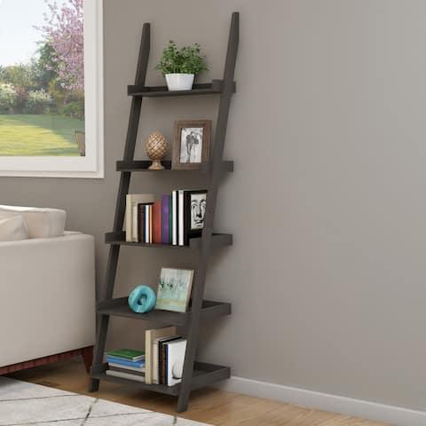 Hastings Home 5-Tier Ladder Bookshelf, Slate Gray