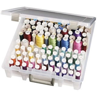 "ArtBin Super Satchel Box W/Removable Thread Trays-15""X14""X3.5"" Translucent"