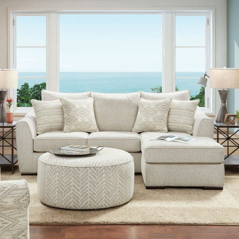Furniture of America Stonefield Transitional Ivory Chenille Sectional