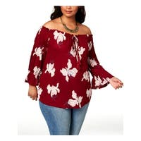 Lucky Brand Womens Plus Blouse Off-The-Shoulder Floral Print