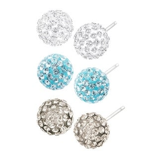 Crystaluxe Set of 3 Ball Stud Earrings with Swarovski Crystals in Sterling Silver - Blue