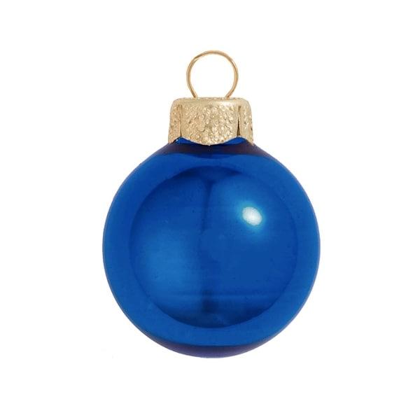 "12ct Shiny Cobalt Blue Glass Ball Christmas Ornaments 2.75"" (70mm)"