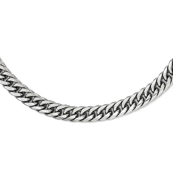 Chisel Stainless Steel Polished 24 inch Double Curb Chain Necklace - 24 in