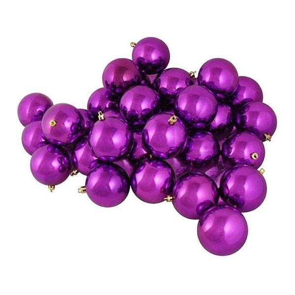"60ct Shiny Orchid Purple Shatterproof Christmas Ball Ornaments 2.5"" (60mm)"