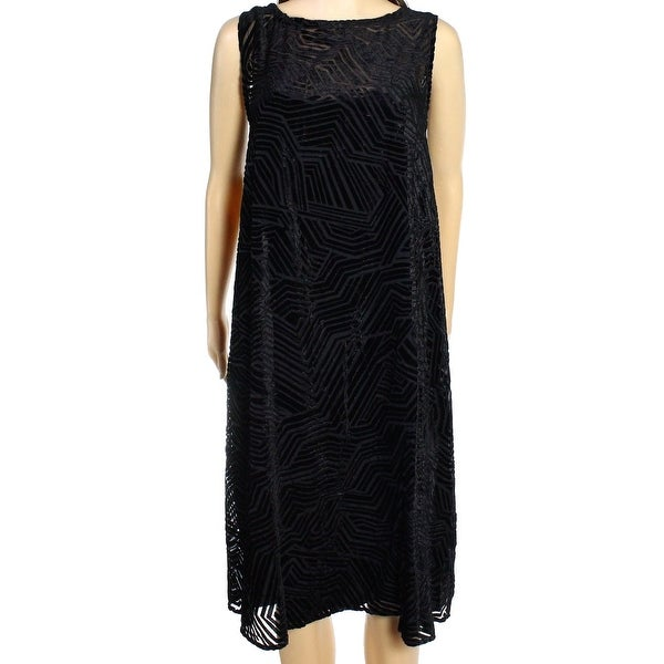 10728bf2e2f14 Alfani NEW Black Women's Size 2P Petite Velvet Illusion Shift Dress