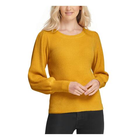 DKNY Womens Gold Long Sleeve Jewel Neck Sweater Size XL