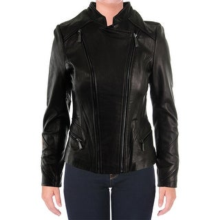Elie Tahari Womens Delphine Leather Double Zip Motorcycle Jacket - XS