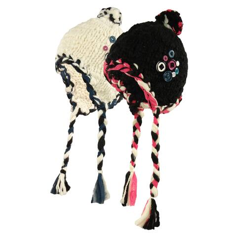 Ribbon & Button Crafty Trapper Winter Hat - One Size