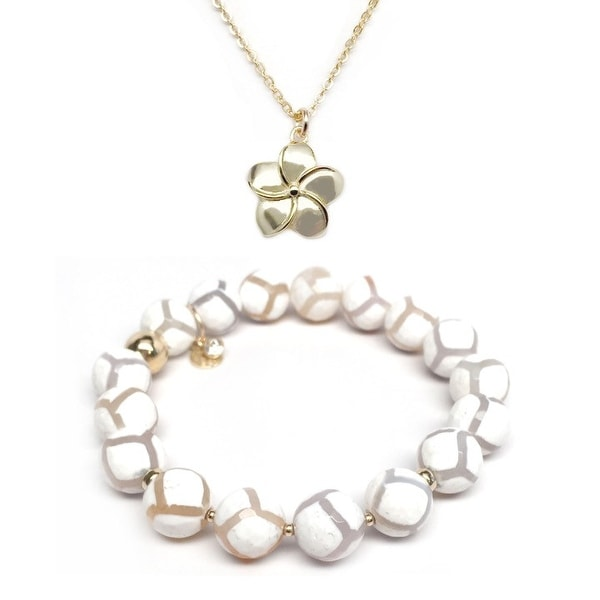 White Agate Bracelet & Flower Gold Charm Necklace Set