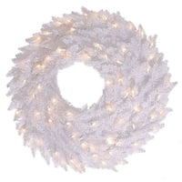 "36"" White Fir Wreath DL LED 100WmWt 320T"
