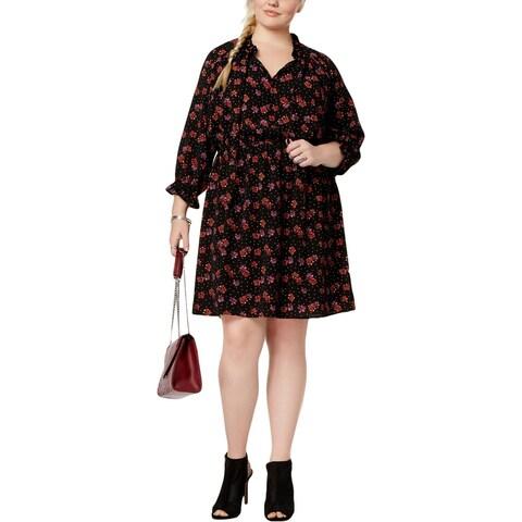Love Squared Womens Plus Shirtdress Peasant Ruffled - 1X