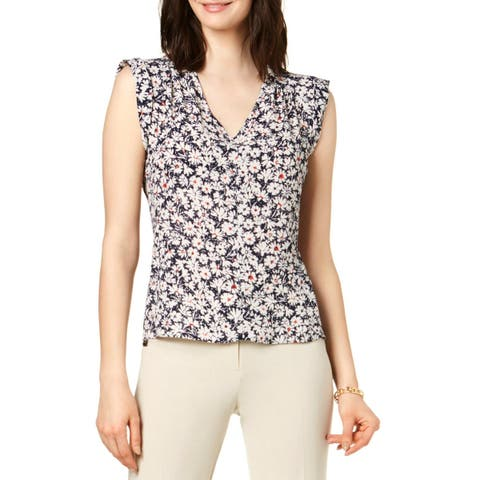 Nine West Womens Pullover Top Floral Print Sleeveless