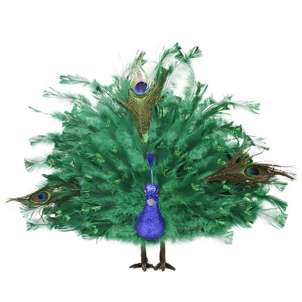 """20"""" Colorful Green Regal Peacock Bird with Open Tail Feathers Christmas Decoration"""