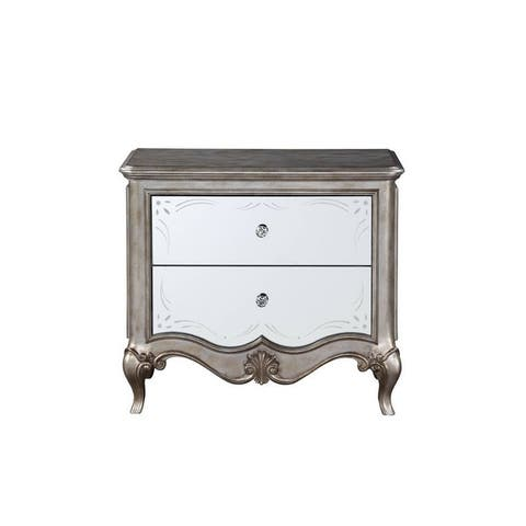 Q-Max 2 Drawer Mirrored Fronts Antique Champagne Nightstand