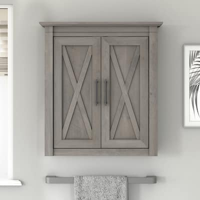 Key West Bathroom Wall Cabinet with Doors by Bush Furniture