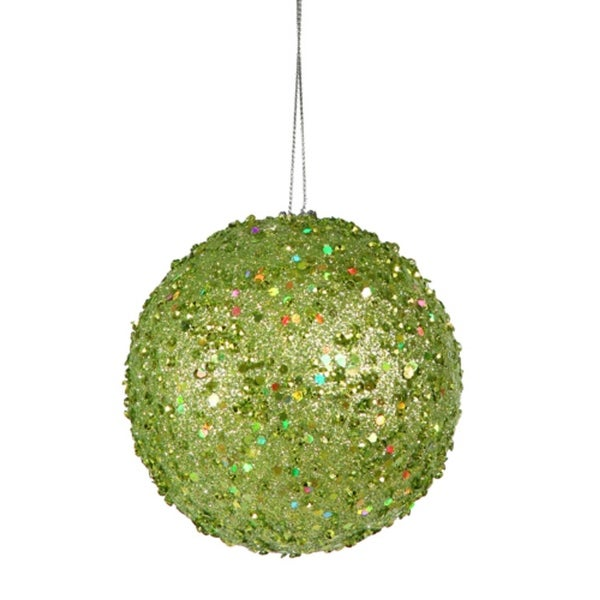 "Fancy Green Apple Holographic Glitter Drenched Christmas Ball Ornament 3"" (80mm)"