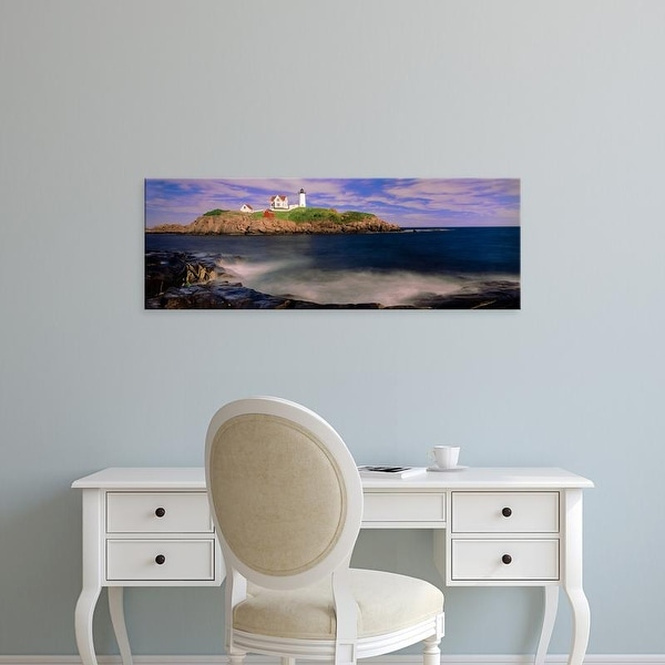 Easy Art Prints Panoramic Image 'Lighthouse at a coast, Nubble Lighthouse, Cape Neddick, York, Maine' Canvas Art