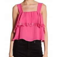 CAD Pink Women's Size Large L Popover Lace Trim Tank Cami Top